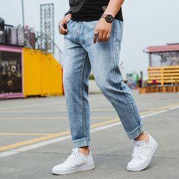 d0ae70f64bb Men Jeans Business Casual Thin Summer Harem Loose Fit Blue Jeans Stretch Denim  Pants Trousers Classic Cowboys Plus Size S-6XL