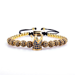 Chinese  CZ jewelry Jewelry 6mm Blue Zircon Ball Micro Pave CZ Crown Bracelet for Men manufacturers
