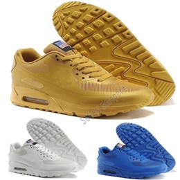 best sneakers 99dfa bcb8e Nike air max airmax 2018 NOVITÀ 90 HY PRM QS Uomo Scarpe da corsa da uomo  90s HyperS fuse Bandiera americana Nero Bianco Blu scuro Oro Argento Sport  scarpe ...