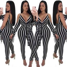bd1bf9464922 Summer women jumpsuits rompers Black white striped pants Deep V belt sling  bare shoulder sleeves Casual ladies jumpsuits trousers