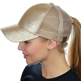 Ponytail Baseball Cap Women Messy Bun Baseball Hat Summer Mesh Trucker Hat  Snapback Girl Glitter Caps e781d6abc8c9