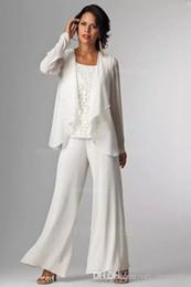 Discount purple trouser suit ladies - Elegant White Chiffon Lady Pants Suits Mother of The Bride Groom With Jacket Plus Size Women Party Dresses Trouser Suit