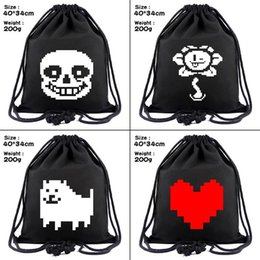 drawstring cosmetic bag Australia - Game Undertale Sans canvas Drawstring bags  Toriel Backpack Women Fashion Cosmetic Container casual Beach Bag Shoes Pouch