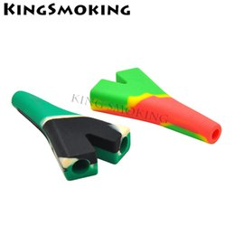 Bend fork online shopping - 91 MM Long Bend Smoking Pipe Silicone Smoke Pipe Fork Shape Cigarette Tube Mixed Colors XBS003