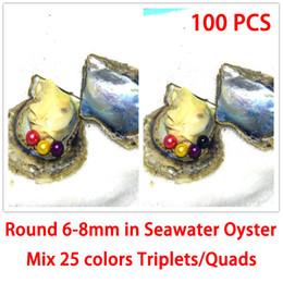 Venta al por mayor de 100PCS trillizos / Quads coloridas perlas redondas de 6-8m m en shell de ostra de agua de mar como regalo sorpresa de misterio con el paquete de vacío envío gratis