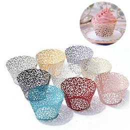 Cut Lace Cupcake Australia - 50PCS Pink Vine Lace Cup Cake Box White Cut Paper Wedding Cupcake Liner Baking Cup Wrappers Birthday Party Favor Decorations