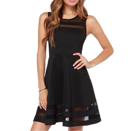 $enCountryForm.capitalKeyWord UK - 2018 Women Dresses Sleeveless Collar Solid Fashion Party Club Mini Dress Summer Black Mesh Dress Outset Swing Many Colors High Quality
