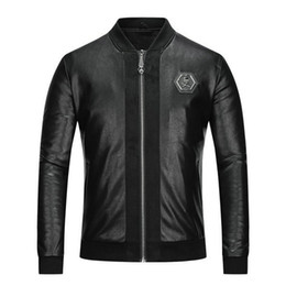 Man Leather Clothing Jacket Male Stand Lead Wash PU Leather Clothing Jacket  8636 143952e35