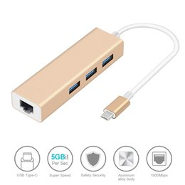 Ethernet Macbook Australia - 3 Ports USB3.0 HUB Type C To Ethernet LAN RJ45 Cable Adapter Network Card High Speed Data Transfer Adapter For Macbook