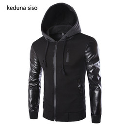 Cool Jackets Zippers NZ - High Quality Men New Spring Fashion Black Leather Sleeve Jackets Cool Men's Leather Jacket Brand Motorcycle Hoody Coat