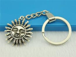 $enCountryForm.capitalKeyWord NZ - 6 Pieces Key Chain Women Key Rings Fashion Keychains For Men Sun 34x29mm