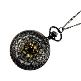 Discount antique spider necklace - Vintage Black Spider Web Pocket Watch with Chain Necklace Pendant Antique Necklace Watch san0