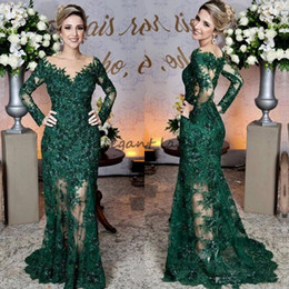 EmErald arts online shopping - Glamorous Emerald Green Evening Dresses Fashion Lace Applique Long Sleeve Mermaid Prom Dress Custom Made See Through Tulle Long Evening Gown