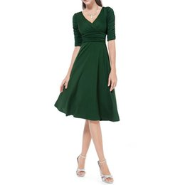 Wholesale swing vintage pinup for sale – plus size Womens Work Dress Plus Size Vintage Style Swing s s Retro Pinup Rockabilly Office Dress XXXL