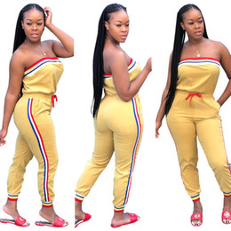 Fashion bodysuits For women online shopping - 2018 Summer Casual Pockets Jumpsuit For Women Side Striped Spliced Bodycon Catsuit Strapless Drawstring Yellow Bodysuits