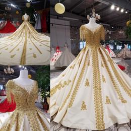 $enCountryForm.capitalKeyWord NZ - Elegant Ivory Gold Satin Scoop Applique Beads Ball Gown Wedding Dresses Bridal Dresses Events Dresses Custom Size 6 8 10 12 W307087