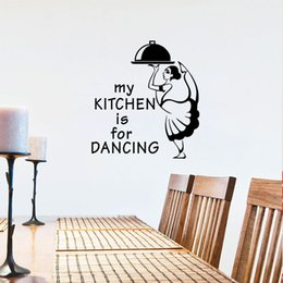 Tiles Design For Kitchen Wall Australia - Waitress with Meal Wall Stickers Kitchen Wall Tile Decor Vinyl DIY Wall Decals Creative Home Decoration Dining Room