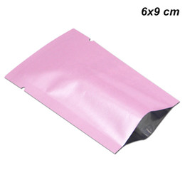 $enCountryForm.capitalKeyWord UK - 400Pcs 6x9cm Pink Open Top Aluminum Foil Bags Vacuum Pouch Heat Sealing Sample Packets Mylar Foil Coffee Tea Powder Storage Pouches for Seed