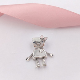 Authentic pAndorA silver necklAce online shopping - Authentic Sterling Silver Beads Bella Bot Charm Pink Enamel Charms Fits European Pandora Style Jewelry Bracelets Necklace EN160