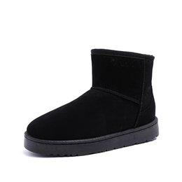 autumn winter snow boots fashion UK - Women Snow Boots Autumn Winter Woman Warm Flat Outdoor Ankle Boots Fashion Flock Slip on Lightweight Ladies Black Gray Shoes