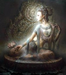 Discount chinese canvas art prints Nice Chinese Dunhuang Kwan-yin goddess High Quality Handcrafts  HD Print portrait Art Oil painting On canvas,Multi sizes  Frame Options DH60