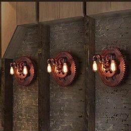 Regron Rusty Industrial Applique marrone E27 Apparecchio a parete Led Applique a parete doppio tubo Banheiro Corridor Bar Cafe Restaurant Corridor