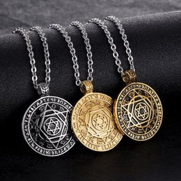 Fashion Latest Design Star of David Pendant Necklace Vintage Style Stainless  Steel Round Pendant hexagram Necklace Rolo Chain 20