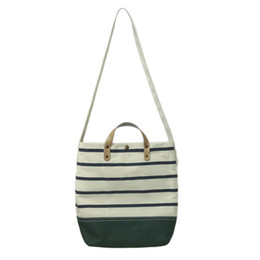 Litthing 2018 Striped Canvas Shoulder Bags For Women Female Green Bag Sac  Femme Navy Wind Style Women Shopper Bag Travel Pouch 2c850ab8b24d7