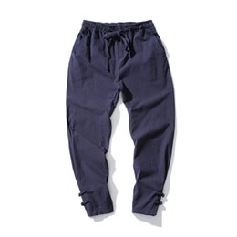 Men linen cotton trousers online shopping - Spring Harem Pants Men Thin Linen Male pants Elastic Waist Brand Clothing Man Joggers Pants HipHop Trousers Traditional Harajuku Hotsale