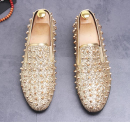 9d60b13cf545 Red Glitter Flats NZ - Brand Designer luxury Men Loafers Flats Glittering  tudded Rivet Spike Mens