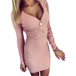 Vestidos Örme 2018 Kadın Elbise Fermuar O-Boyun Seksi Örme Elbise Uzun Kollu Bodycon Kılıf Paketi Kalça Elbise Vestidos GV090 indirimde