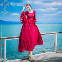 evening dresses butterfly sleeves NZ - YOSIMI 2018 Summer Red Lace And Chiffon Vintage Long Women Dress Evening Party O-neck Beach Long Female Dresses Butterfly Sleeve