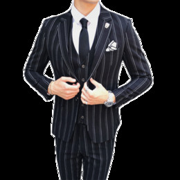 Herbst und Winter Mens Striped Dress Suit Schwarz Navy Blue High-End Business Hochzeit Bankett Männer Blazer Jacke + Weste + Hosen
