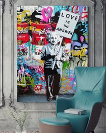canvas spray Canada - HD Printed 1 piece canvas art graffiti spray Einstein love is the answer Painting poster free shipping