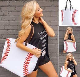 Swimming jewelry online shopping - Baseball Softball Tote Bag colors for jewelry Softball baseball white stitching bags baseball women Cotton Canvas bag