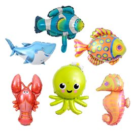 lobster toy wholesale UK - wholesale 300pcs lot Mini Sea Word Party Supplies Lobster Fish Octopu Foil Balloons Inflatable Air Toys Birthday Party Decoration