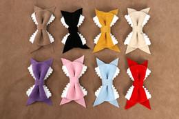 $enCountryForm.capitalKeyWord NZ - 10 Pcs Lot Velvet Bow Hair Clips with Pompom Trim Pom Pom Trim Bow Clips Girls Hair Accessories Fashion Headwear
