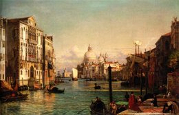 canvas print venice 2019 - Handpainted oil painting Friedrich Nerly the Younger - Grand cityscape of Venice with church Home Decor Wall Art On Canv