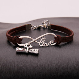hot bijoux Australia - feminina pulseras Hot Men Bijoux Punk Dark Brown Leather Charm Silver Plated Infinity Love Graduate Diploma Bracelets Women Bangles Jewelry