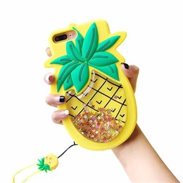 3d pineapple case UK - Glitter Pineapple with Strap Case for iPhone7Plus&iPhone8Plus Screen 3D Soft Silicone Rubber Material Ultra Thick Protective Cute Bling High