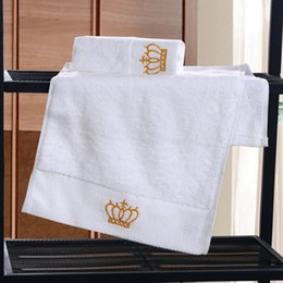 hand embroidered towels 2019 - Pure White Five-star Hotel Towels Cotton Embroidered Crown Hand Towels Bath Towel Washcloths High Absorbent Supplies che