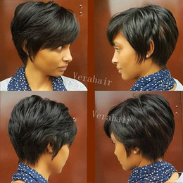 $enCountryForm.capitalKeyWord Australia - Short none Lace front Straight Human hair wigs Cheap Pixie Cut short with baby hair african cut style brazilian Ladies wig for black women