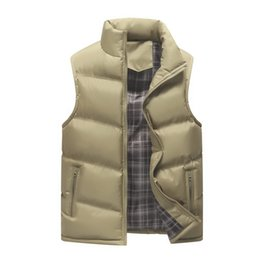 Discount sleeveless vest coat for men Men's Sleeveless Vest Winter Casual Coats Male Cotton-Padded Thickening Men's Vest Cotton Fleece Warm Winter W