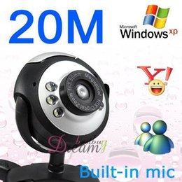 Gros New Dropship 1 Pièce NEW20.0 Mega Pixel 20.0M 6 LED USB Caméra Caméra Webcam + Micro Couleur Noir