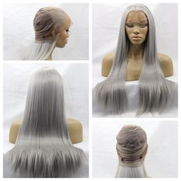 Long hair sexy women online shopping - Hot Sexy Gray Color Long Silky Straight Full Lace Wigs with Baby Hair Heat Resistant Glueless Synthetic Lace Front Wigs for Black Women
