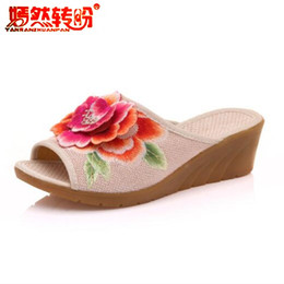summer plus size cloths Canada - flower embroidered slippers womens shoes chinese national cloth casual wedges woman mules peep toe slide heels plus size 35-41