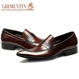 $enCountryForm.capitalKeyWord UK - Grimentin Genuine Leather Formal Mens Dress Shoes Pointed Toe Slip-On Black Brown Men Oxford Shoes Hot Sale Wedding Party Mens Shoes YJ