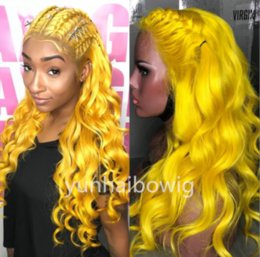 Long Colored Hair Australia - Yellow colored human hair full lace wig brazilian virgin hair lace front wig loose wavy yellow hair color