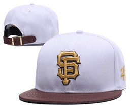 76f772caa19108 Fashion Men's Baseball Giants Snapback Hats 47 Design Classic Embroidered  Letter SF Sports Baseball Flat Caps in White Color Leather Brim