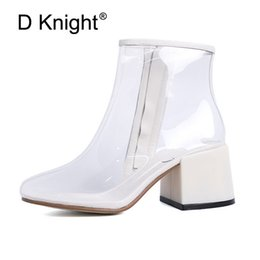 79e1c2dca 2018 Mulheres Botas de Chuva Transparente À Prova D 'Água Primavera Outono  Sapatos Claros Bota de Chuva Mulher Ankle Boots de Salto Alto Tamanho  Grande 39 + ...